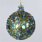 Peacock Sequin and Beaded Mosaic Christmas Ball Ornament